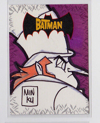 Penguin BATMAN Animated 2005 Topps DC Comics Color Sketch Card by Min Ku