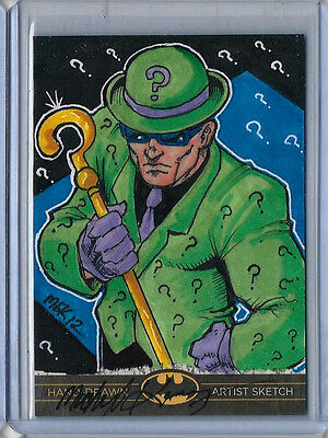 Riddler Batman:The Legend 2013 Cryptozoic DC Sketch Card by Michael Kasinger 1/1
