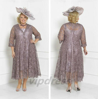 PLUS SIZE MOTHER Of The Bride Dresses 3/4 Sleeves 2 Piece Tea Length Lace  Jacket