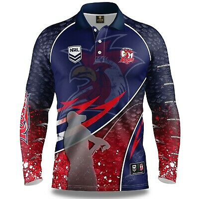 NRL 2019 Long Sleeve Fishing Polo Tee Shirt - Sydney Roosters - Adult Youth