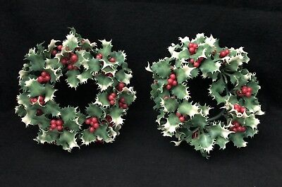 Pair Of Two Vintage Plastic Candle Ring Wreaths with Holly Berries - Christmas