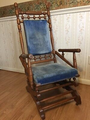 Antique Eastlake Victorian Turned Walnut Platform Rocking Chair c. Late 1800's
