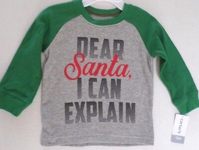 Carter Baby Boys Thermal Cotton Long Slv Top 'Dear Santa... Gray/Green/Red 12 Mo