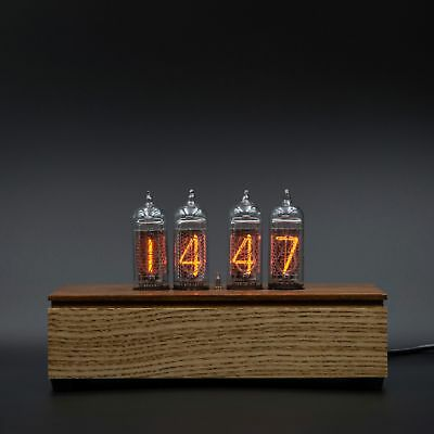 Vintage Nixie Tube Desk Clock 4x IN-14 Wooden Walnut and Mahogany Case Assembled
