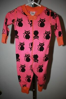 Hanna Andersson, Baby Girl's Size 60 (6-9 Mos.) Pink Cat One-Piece Pajamas, Cute