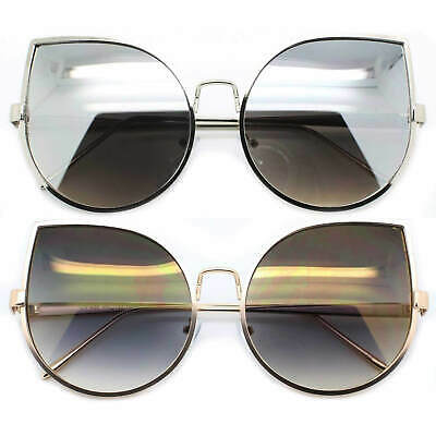 XXL Large Cat Eye Oversized Sunglasses Metal Frame Women Fashion Mirrored Lens