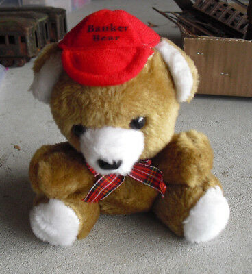 "Vintage 1980s Plush Over Plastic Banker Bear Bank 6 1/2"" Tall"