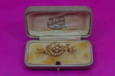 Antique 15 ct gold / pearl crescent moon flower brooch 4.5 cm long boxed