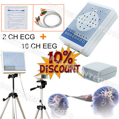 CE CONTEC Digital 16 Channel EEG& 2 CH ECG Mapping System machine,Brain Electric