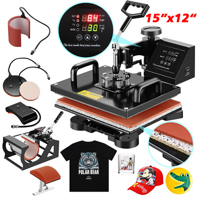 "12""x15"" 5IN1 Combo T-Shirt Heat Press Transfer Machine Sublimation Swing Away US"