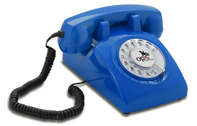 Opis 60s cable corded retro/vintage rotary-dial desk telephone/phone in blue