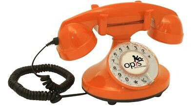 Opis FunkyFon cable 1920s inspired corded/fixed-line retro desk telephone orange