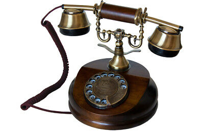 Opis 1921 Cable retro telephone, wood and metal body, rotary dial, metal bell