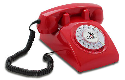 Opis 60s cable corded retro/vintage rotary-dial desk telephone/phone in red