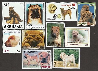 CHINESE SHAR-PEI ** Int'l Dog Postage Stamp Collection ** Great Gift Idea **