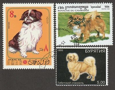 TIBETAN SPANIEL ** Int'l Dog Postage Stamp Collection ** Great Gift Idea **