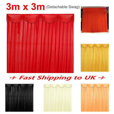 3x3M Silk Satin Wedding Party Stage Backdrop Curtain Drape & Detachable Swag