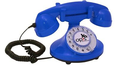 Opis FunkyFon cable: 1920s inspired corded/fixed-line retro desk telephone blue