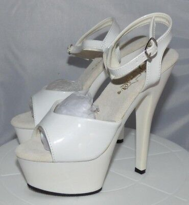 be951f50660c PLEASER KISS 209 Exotic Dancer Ankle Strap Platform Sandals White ...