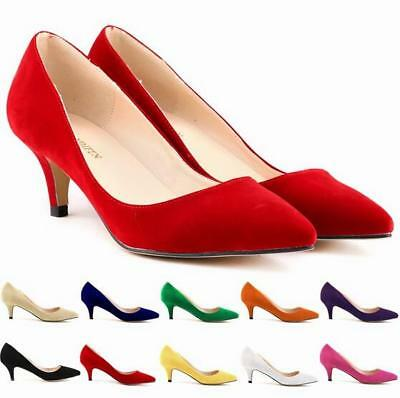 Women Ladies Stiletto Shallow Slip On Mid High Heel Pointed Court Shoes Big Size