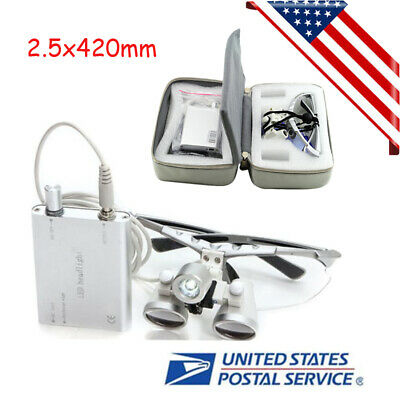 Dental Loupes 2.5x420mm Surgical Binocular LED Head Light Lamp + Free Carry Case