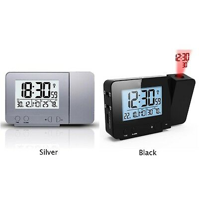 1pc LED Backlight Projection Digital Weather LCD Snooze Dual Alarm Clock Display