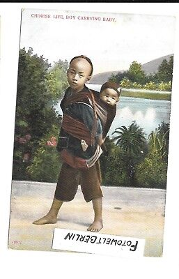 Postkarte 1904 China   Asien Kolonie Chinese Life Boy Carrying Baby