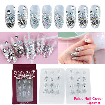 24Pcs French Nails False Nail Cover Crystal Diamond Silver glitter Nail Tool New