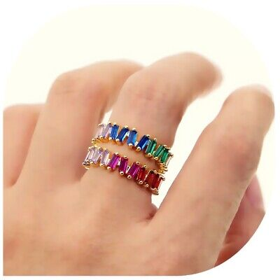 Baguette Cubic Zirconia Multicolor Stack Ring, Rainbow Rose Gold Eternity Band