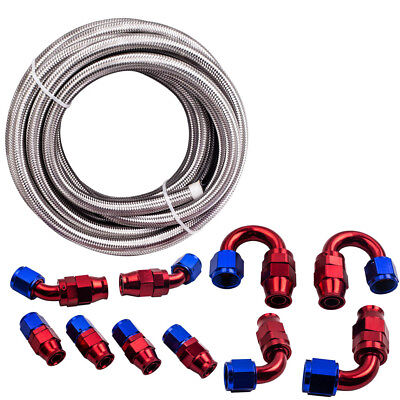 AN-10 Stainless Steel PTFE Fuel Line Hose 6M 20FT & AN10 Swivel Fitting Kit