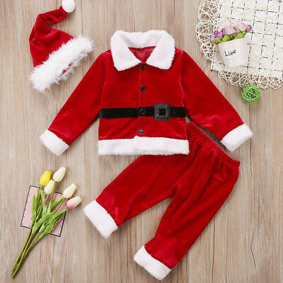 UK Toddler Baby Boys Girls Christmas Santa Claus Top Pants Party Outfits Clothes