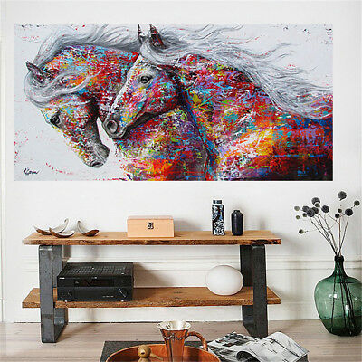 Canvas Running Horse Art Print Painting Frameless Wall Picture Poster Home Decor