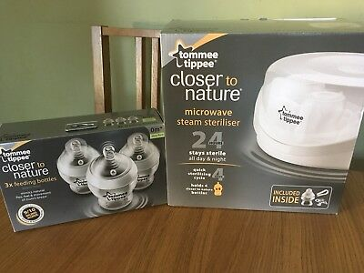 tommee tippee microwave steriliser And 3 x 9oz Bottles