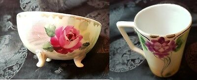 Nippon Hand Painted 3 Legged Porcelain Finger Bowl & Floral Tea Cup / Coffee Cup