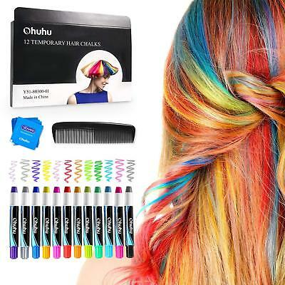 Hair Chalks Set 12 Colorful Hair Chalk Pens Temporary Color Non-Toxic For Kids