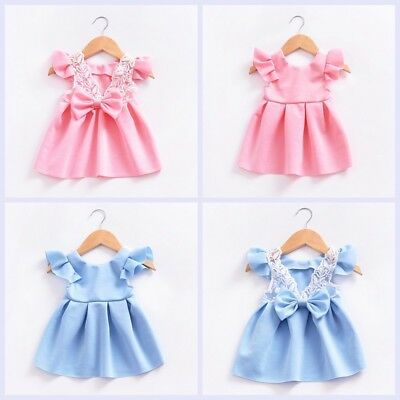 Toddler Girl Princess Dress Baby Wedding Party Bowknot Pageant Tutu Dresses 0-4Y