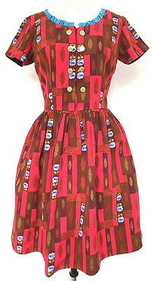 Vintage 1960s Red Brown Blue Flowers & Ruffle Trim Gold Button Dress S