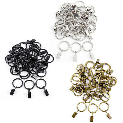 30pcs Metal Curtains Rings With Clips Pole Rod Voile Net Hanging 25mm