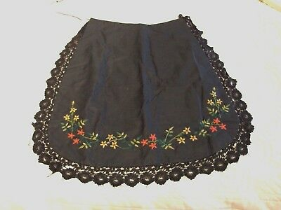 antique Victorian handmade silk hand embroidered and black lace trim apron
