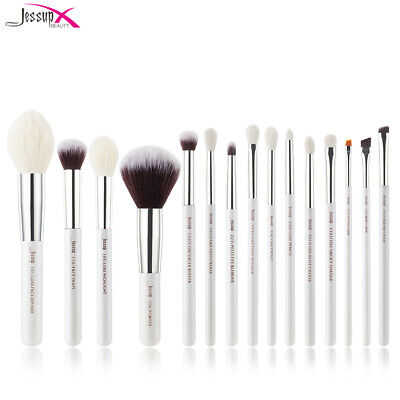 UK Jessup Make Up Brushes Eyes Powder Face Eyeshdow Brow 15Pcs White/Silver Set