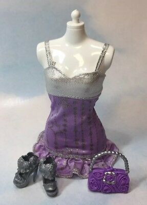 Barbie Doll Clothing: Modern purple silver Party Dress shoes purse complete look
