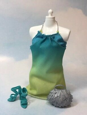 Barbie Doll Clothing: Modern blue green hombre Party Dress shoes purse