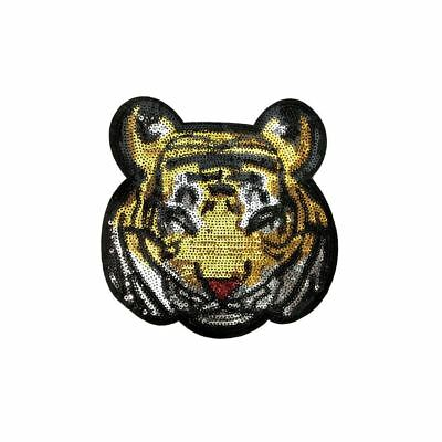 Sequin Tiger (Sew On) Embroidery Applique Patch Sew Iron Badge