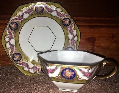 Limoges M Raynaud Cabinet Cup & Saucer Cobalt Floral Medallions Hexagonal