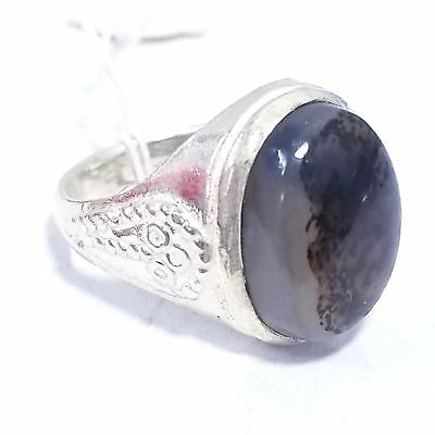 925 sterling silver antique natural dendritic agate stone middle eastern jewelry