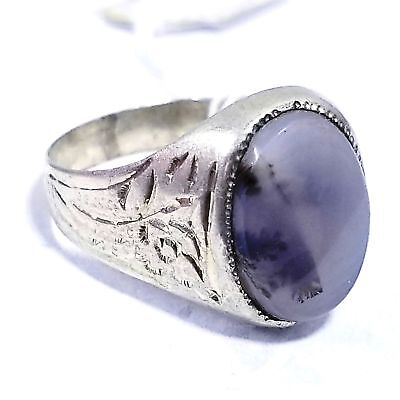 AAA sterling silver antique natural dendritic AGATE stone middle eastern jewelry