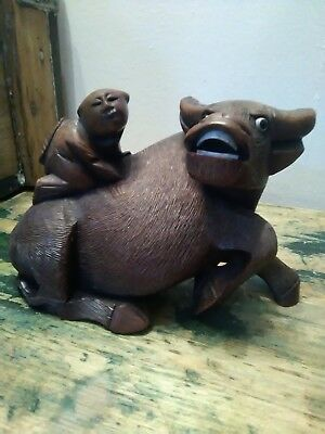 Antique Chinese Carved Hard Wood Boy On Water Buffalo Figure