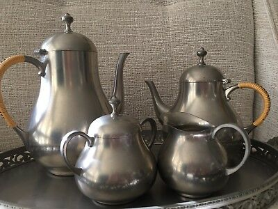 Vintage Royal Holland Pewter Coffee & Tea Set w/ Sugar/Creamer