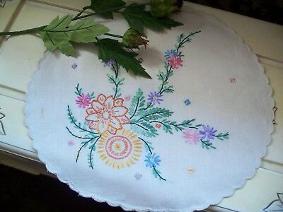 Vintage Linen  embroidered cushion cover round.
