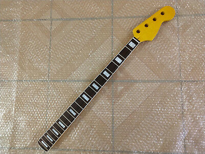 Electric JAZZ Bass Guitar Neck  yellow Replacement Maple Wood 21 Frets